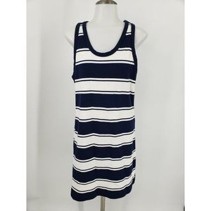 J Crew Tank Dress Rugby Striped Blue White